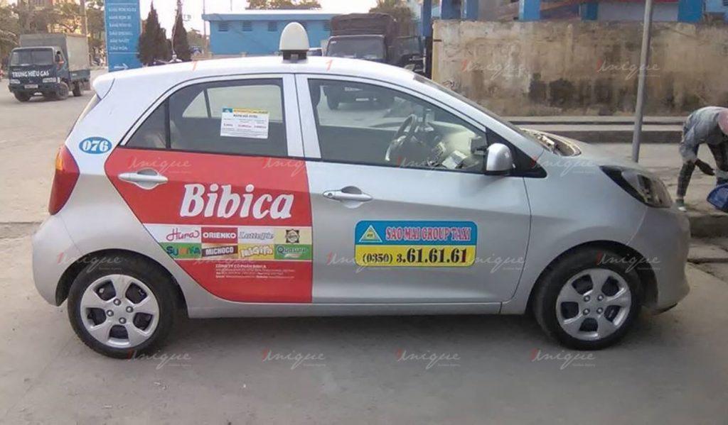 quảng cáo trên taxi sao mai